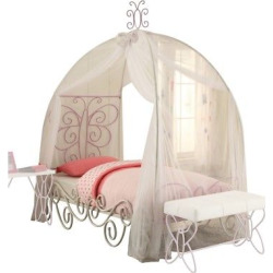 Priya II Twin Bed with Canopy-White and Light Purple-Acme, White