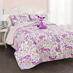 Pixie Fox Quilt Set, Purple