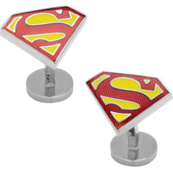 DC Comics Textured Superman Shield Cuff Links, Men's, Red