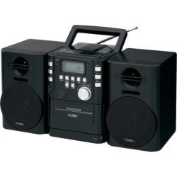 Jensen Portable CD Music System with Cassette Deck & FM Stereo Radio, Black