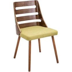 Trevi Mid Century Modern – Walnut Wood Chairs/Green Fabric – LumiSource