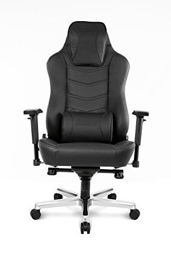 AKRacing Office Series Onyx Deluxe Executive Real Leather Desk Chair with High Backrest, Recliner, Swivel, Tilt, Rocker & Seat Height Adjustment Mechanisms, 5/10 Warranty – Black