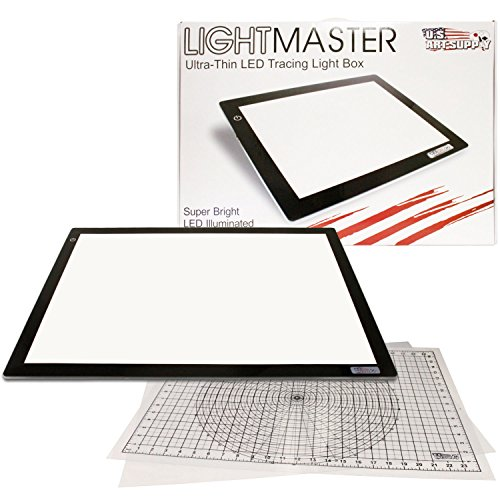 US ART SUPPLY Lightmaster Jumbo 32.5″ Diagonal Extra Large(A2) 17″x24″ LED Lightbox Board- 12-Volt Super-Bright Ultra-Thin 3/8″ Profile Light Box Pad with 110V AC Power Adapter & Dimmable LED Lamps. Now Includes for FREE: 1 Measuring Overlay Grid & 1 Circle Template/Protractor 1-Year Warranty