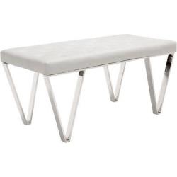 Modern Upholstered 40 Stainless Steel Bench, White