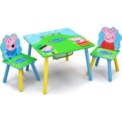 Delta Children Peppa Pig Table & Chair Set with Storage, Multicolor