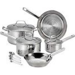 T-Fal 12pc Stainless Steel (Silver) Cookware Set