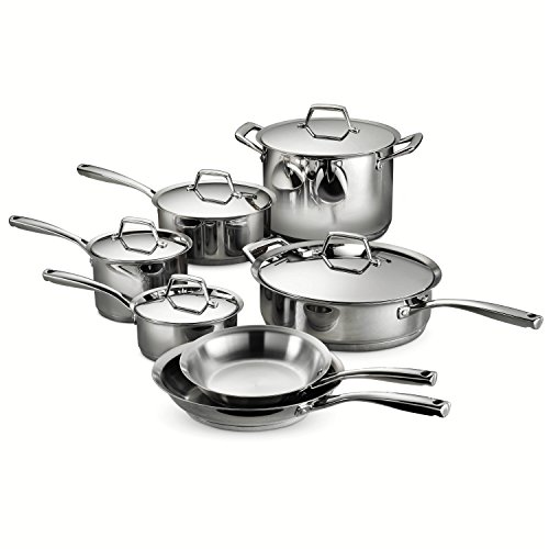 Tramontina 80101/203DS Gourmet Prima Stainless Steel, Induction-Ready, Impact Bonded, Tri-Ply Base Cookware Set, 12 Piece, Made in Brazil