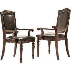 Marist Arm Chair Wood/Croc (Set of 2) – Homelegance, Brown