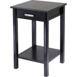 Liso End Table / Printer Table with Drawer and Shelf – Dark Espresso – Winsome, Espresso Brown