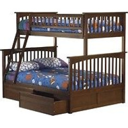 Columbia Twin Over Full Bunk Bed with Under Bed Drawers Antique Walnut – Atlantic Furniture