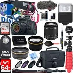 Canon EOS Rebel T7i DSLR Camera Video Creator Kit + 18-55mm Lens Accessory Bundle