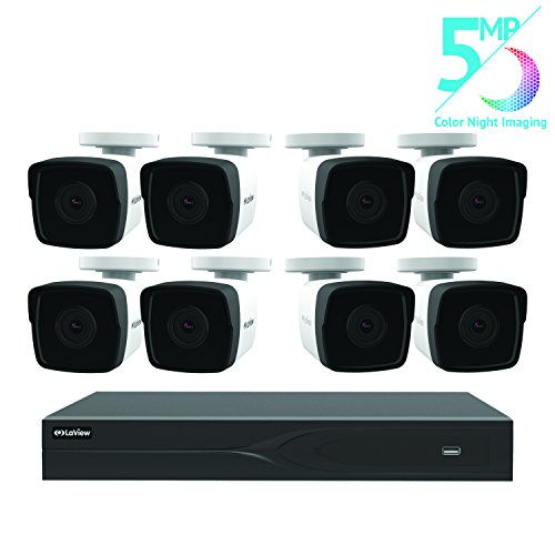 LaView 8 Channel 5MP Business Home Security Cameras System 2TB HDD Surveillance DVR 8 5MP Color Night Vision Bullet Cameras