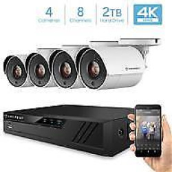 Amcrest UltraHD 4K 8CH Video Home Security Camera System with 4 x 4K (8MP) IP67 Bullet Outdoor Surveillance Cameras, 100ft Night Vision, Pre-Installed 2TB Hard Drive, (AMDV80M8-4B-W)