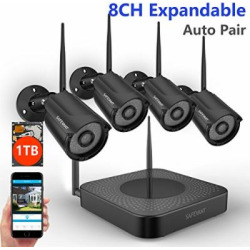 【Expandable System】 Safevant 8CH NVR Wireless Security Camera System, 4pcs Black 960P Indoors&Outdoors Wireless Security Cameras,65ft Night Vision,1TB HDD Pre-Installed,Auto-Pair,Plug&Play