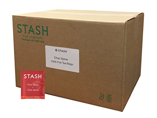 Stash Tea Chai Spice Black Tea 1000 Tea Bags in 8.58 Pound Box, Tea Bags Individually Wrapped in Foil, Premium Black Tea Blended with Invigorating, Warming Spices, Drink Hot or Iced
