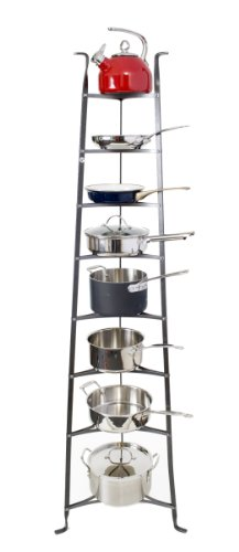 Enclume 8-Tier Cookware Stand, Free Standing Pot Rack, Hammered Steel (Unassembled)