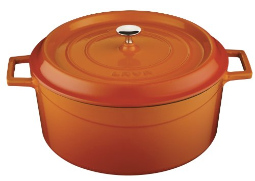 Lava Signature Enameled Cast-Iron Round Dutch Oven – 10-1/2 Quart, Orange Spice