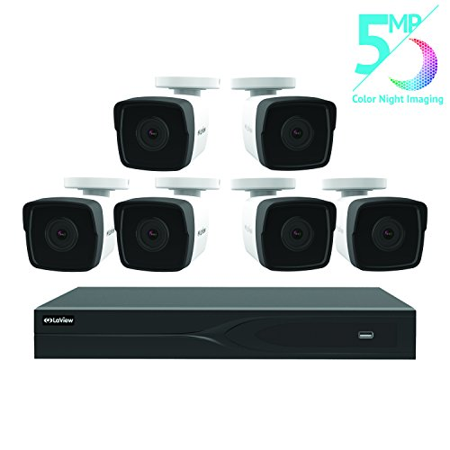 LaView 8 Channel 5MP Business Home Security Cameras System 2TB HDD Surveillance DVR 6 5MP Color Night Vision Bullet Cameras