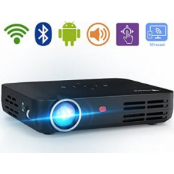 WOWOTO H8 3000 lumens Video Projector DLP Support 3D 1080P HD LED Perfect For Entertainment Business Android IOS Download Install Apps HDMI AV USB SD RJ45 Wireless Screen Share Projection Screen