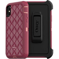 OtterBox Defender Series Case for iPhone Xs & iPhone X – Retail Packaging – Happa (Silver Pink/Red Plum/Happa Graphic)