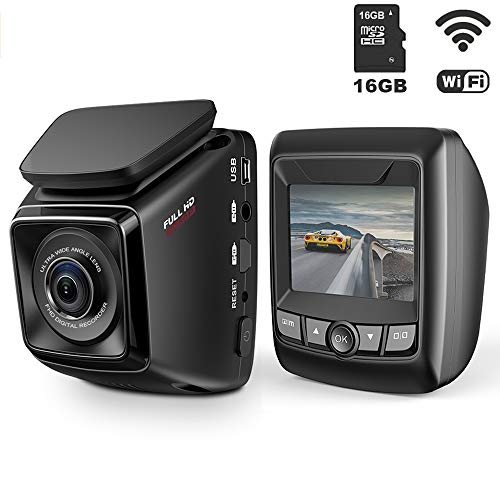 Dash Cam FHD 1080P Car DVR with WiFi and 6-Lane 170° Wide Angle Lens, Dashboard Camera Recorder with WDR, Loop Recording, G-Sensor Include 16GB Memory Card