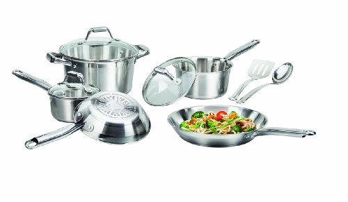 T-fal C811SA Elegance Stainless Steel Cookware Set, 10-Piece, Silver by T-fal