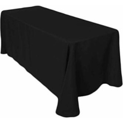 LinenTablecloth 90 x 132-Inch Rectangular Polyester Tablecloths (Black, 6)