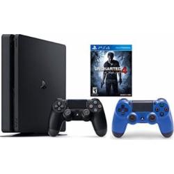 PlayStation 4 Slim Console 2 items Bundle:PS4 Slim – Uncharted 4 Bundle,Sony PlayStation 4 Dualshock 4 Wireless ControllerWave Blue
