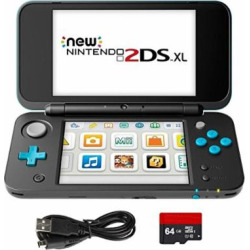 New Nintendo 2DS XL 4 Items Bundle: New Nintendo 2DS XL – Black + Turquoise Console, USB Sync Charge USB Cable, Mytrix Travel USB Wall Charger and Micro SD Card 64GB