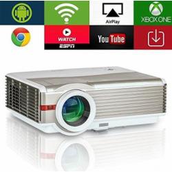 4200 Lumens Android LED LCD HD Video Projector Support 1080P High Definition Wifi Home Theater Projector Wireless Airplay for Smartphone iOS,Multimedia HDMI USB VGA AV for Video Game TV Outdoor Movie