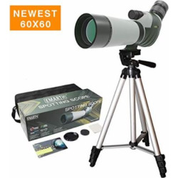 FEEMIC Newest 20-60×60 Waterproof Spotting Scope with Tripod, 45-Degree Angled Big Eyepiece(24mm), Optics Zoom 47-23.5M/1000M Spotting Scope for Target Shooting Bird Watching Hunting Archery Wildlife