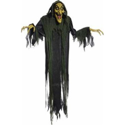 Online Discounts Hanging Talking Witch Animated Halloween Prop Lifesize 6 FT Haunted House Poseable