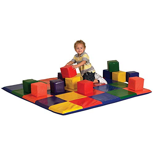 ecr4kids softzone patchwork toddler play mat with 12 soft blocks primary - Allshopathome-Best Price Comparison Website,Compare Prices & Save