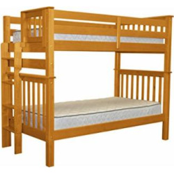 bedz king tall bunk beds twin over twin mission style with end ladder honey - Allshopathome-Best Price Comparison Website,Compare Prices & Save