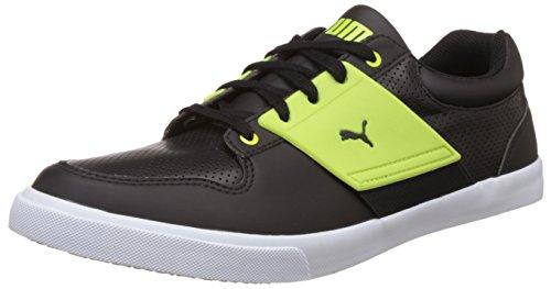 Puma Men's El Ace Lo Black and Macaw Green Leather Sneakers – 7 UK/India (40.5 EU)