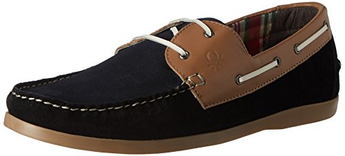 United Colors of Benetton Men's Black (901) Leather Boat Shoes – 8 UK