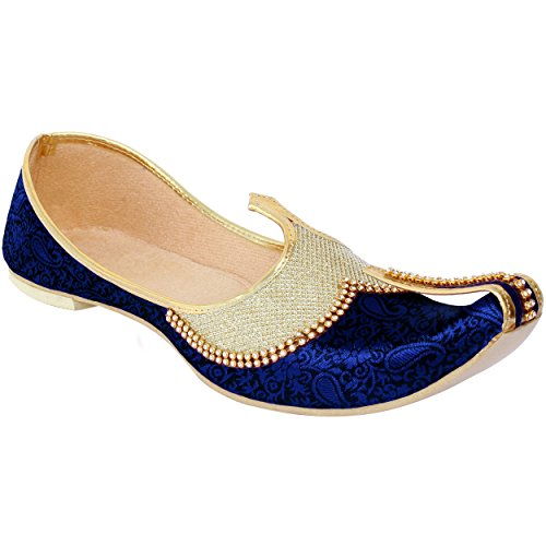 Krafto Men's Golden Blue Silk Sherwani Jutti – 8 UK