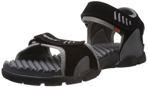 Sparx Men's Black and Grey Sandals and Floaters – 7 UK