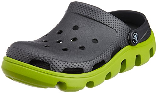 Crocs Unisex Duet Sport Clog Graphite and Volt Green Rubber Clogs and Mules – M8/W10
