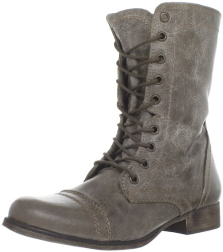 Steve Madden Women's Troopa Stone Leather Boots – 5 UK/India (37.5 EU)(7 US)