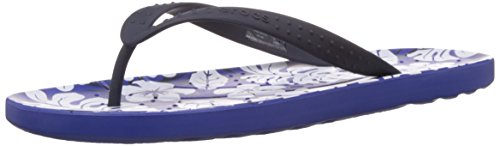 Crocs Unisex Chawaii Tropical Print Flip Navy and Cerulean Blue Rubber Flip-Flops and House Slippers – M7W9