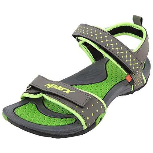 Sparx Women's SS0803L3 Series Dark Grey Fluorescent Green Synthetic Casual Floater Sandals 6UK