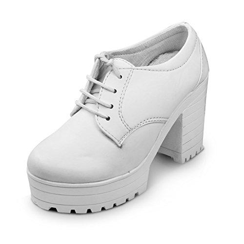 Beonza Women White Block Heels Sneakers Shoes-39