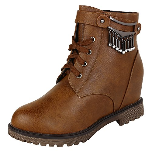 Authentic Vogue Women's Ankle- Length Wedge Heel Brown Leather Boots 40 EU