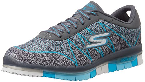 Skechers Women's Go Flex – Ability Charcoal and Turquoise Nordic Walking Shoes – 5 UK/India (38 EU) (8 US)