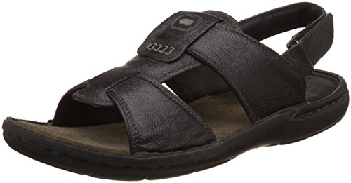Red Chief Men's Black Leather Sandals and Floaters – 9 UK/India (43 EU)( 001)