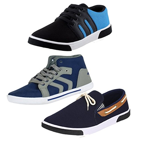 STYLIVO Combo of 3 Men's Canvas Black_Sky Blue Sneakers, Blue_Grey Casual Shoes and Navy Blue Loafers Shoes (FU-SH-CMB3-BLK_SBL-BL_GY-NBL, Size: 10 UK/IND)