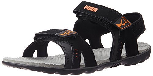 Puma Unisex Silicis Buck DP Black, Limestone Grey and Vibrant Orange Rubber Athletic & Outdoor Sandals – 11 UK