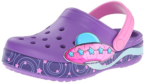 Crocs Kids Unisex Crocband Galactic Clog Neon Purple Rubber Clogs and Mules – C12C13
