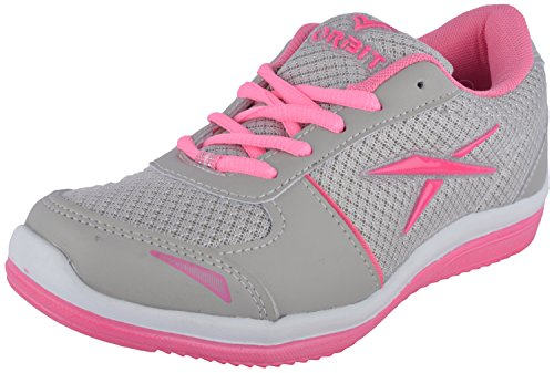 Orbit Women's Grey And Pink Canvas Sports Shoes (ORBITLS005 LGRYPINK, Size: 6 UK)